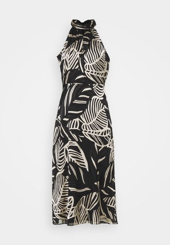 ADRIAN PALM BURNOUT DRESS - Pouzdrové šaty - black/neutral
