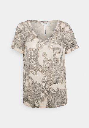 OBJTESSI V NECK - T-shirt print - sandshell