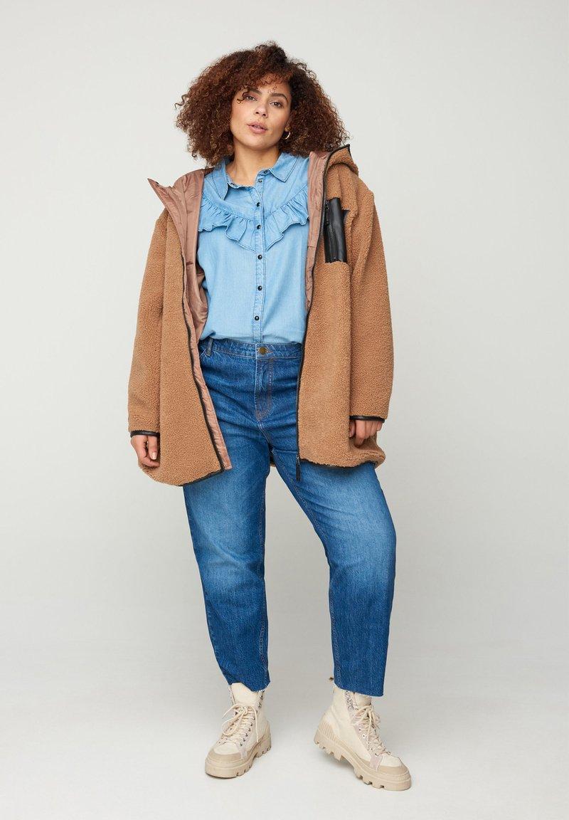 Zizzi - Fleece jacket - brown
