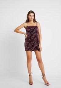 Topshop - GLITTER LUREX DRESS - Cocktail dress / Party dress - pink - 1