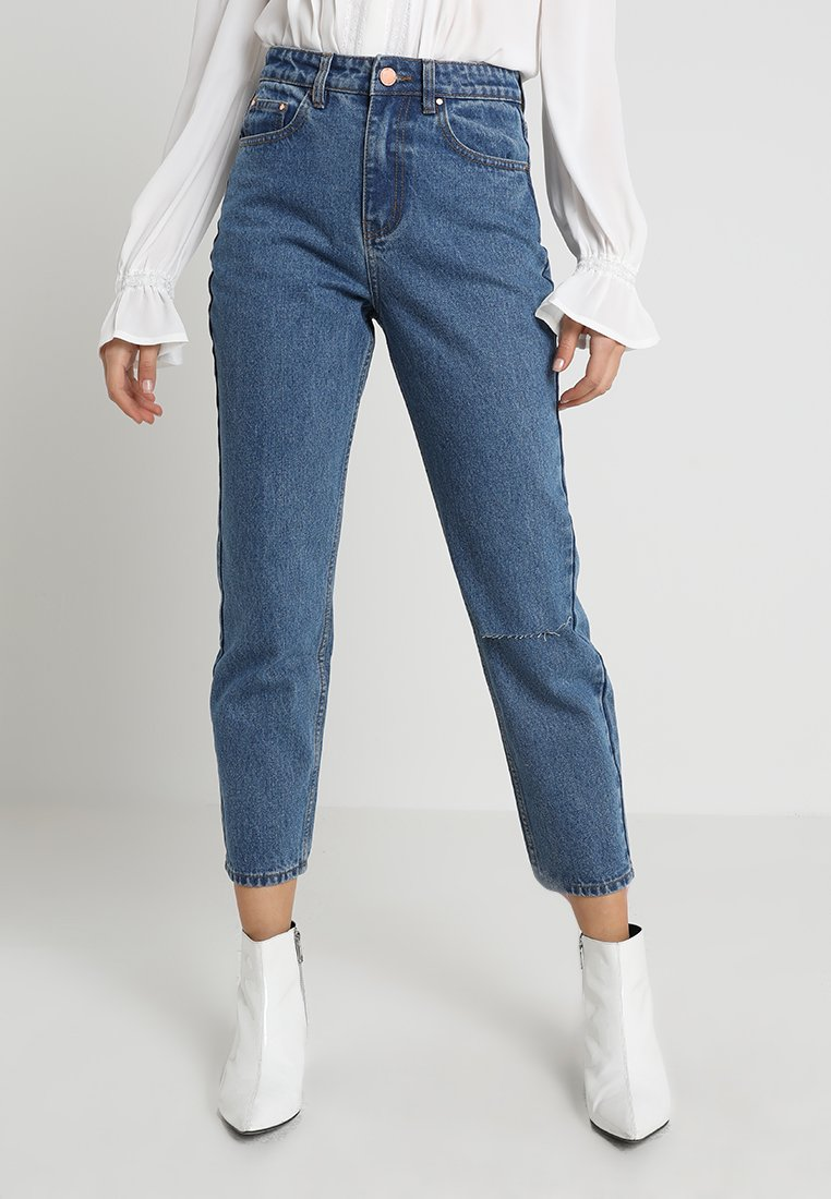 Lost Ink - HIGH RISE - Jeans Straight Leg - mid denim