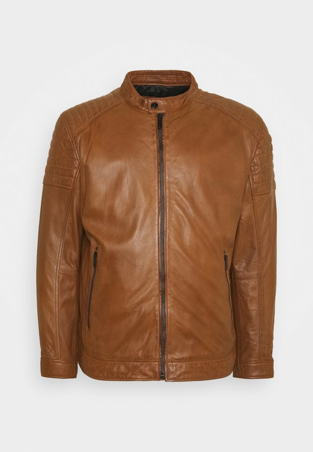 DERRY - Leather jacket - cognac