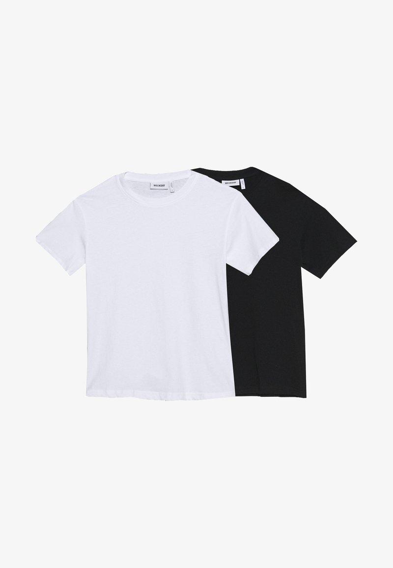 Weekday - ALANIS 2 PACK - T-shirts - black/white