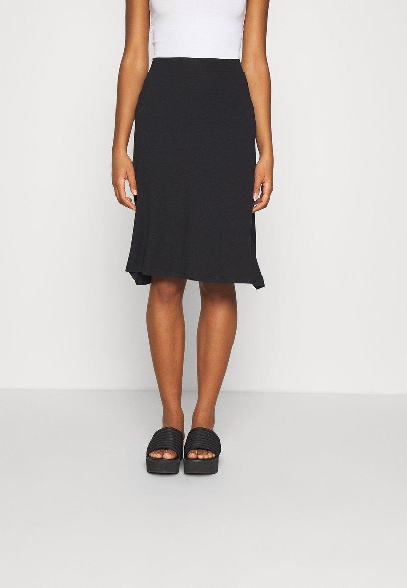 Even&Odd - BASIC - Midi skirt - A-snit nederdel/ A-formede nederdele - black