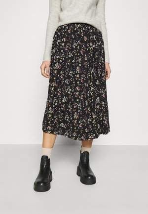 VIBLOSSOMS MIDI SKIRT - Pleated skirt - black