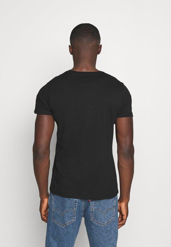 Alpha Industries BASIC PRINT - T-shirt z nadrukiem - black/yellow gold/czarny Odzież Męska QKWY