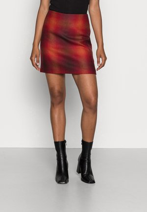 SHADOW CHECK SKIRT - Mini skirt - big shadow red / primary red