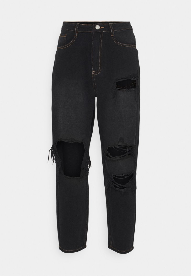 Missguided Petite - PETITE RIOT WASH BUSTED MOM  - Relaxed fit jeans - black