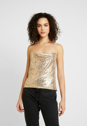 DRAPED SEQUIN SINGLET - Top - gold
