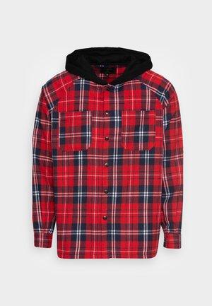 HOODED SHIRT - Shirt - red/black