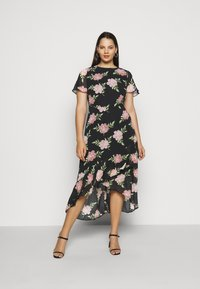 Dorothy Perkins Curve - OCCASIONL SLEEVE HIGH LOW  DRESS FLORAL - Day dress - multi coloured - 0