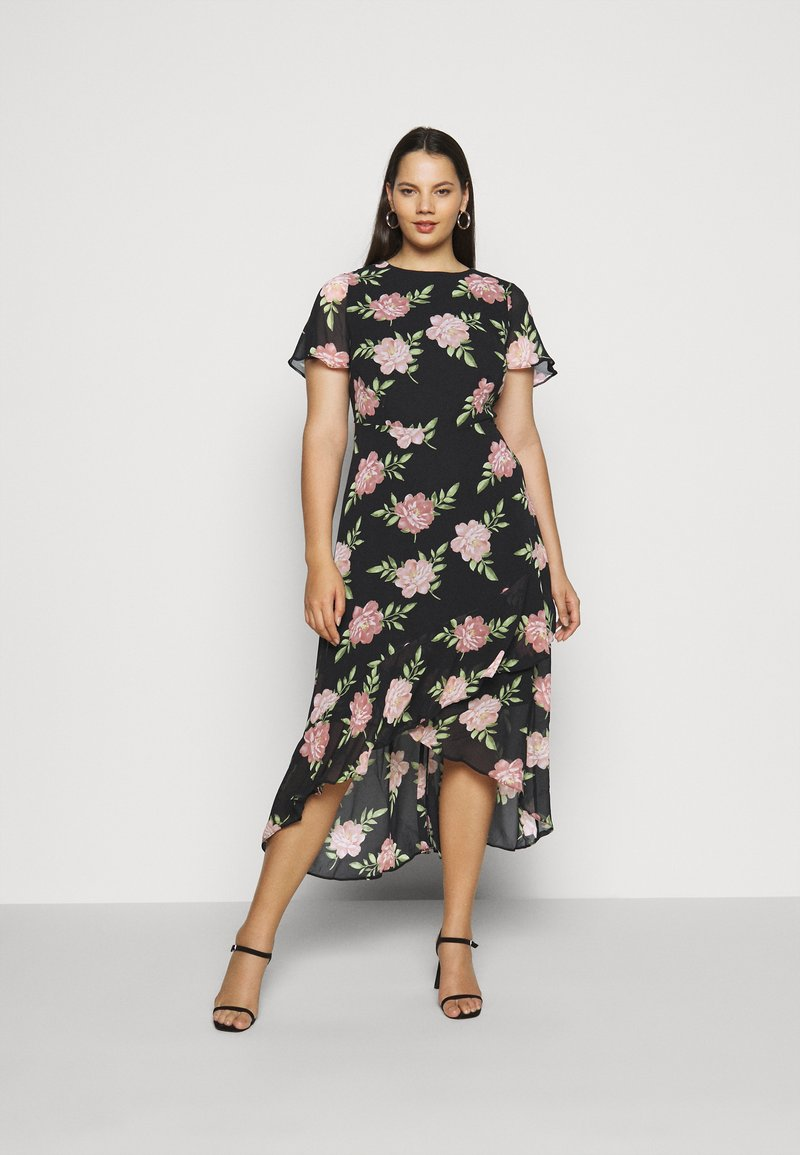 Dorothy Perkins Curve - OCCASIONL SLEEVE HIGH LOW  DRESS FLORAL - Day dress - multi coloured