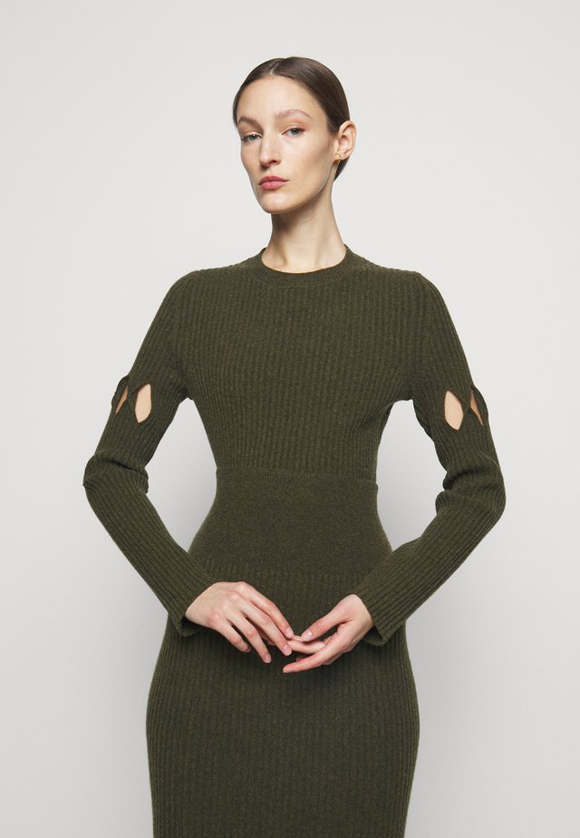 CUT OUT CREW NECK - Jersey de punto - khaki
