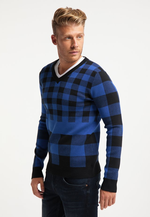 Sweter - blau schwarz