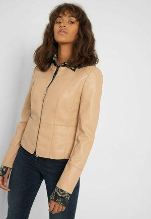 Faux leather jacket - autumn beige