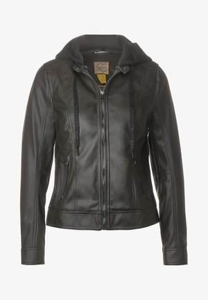 MIT KAPUZE - Faux leather jacket - grün