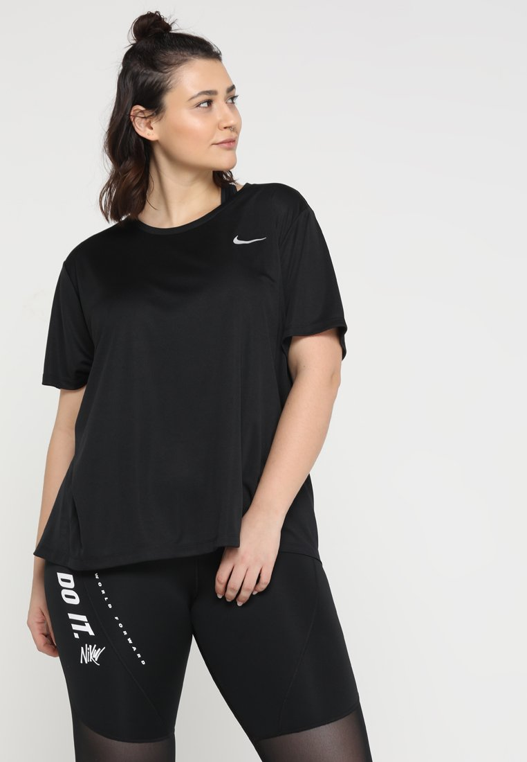 Nike Performance - DRY MILER PLUS - Basic T-shirt - black/reflective silv