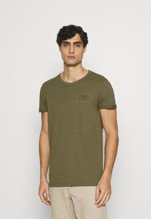 T-shirt print - dry greyish/olive melange