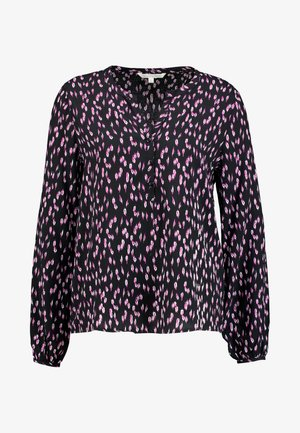 HENLEY BLOUSE WITH BOW DETAIL AT CUFF - Bluser - black