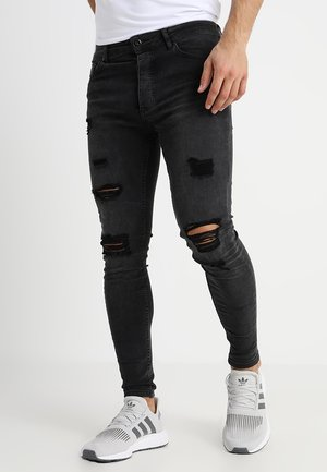 DISTRESSED  - Skinny-Farkut - dark grey