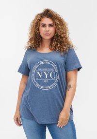 Zizzi - Print T-shirt - blue - 0