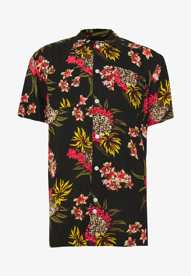 TWIN POCKET CAMP COLLAR PINEAPPLE PRINTED - Shirt - black