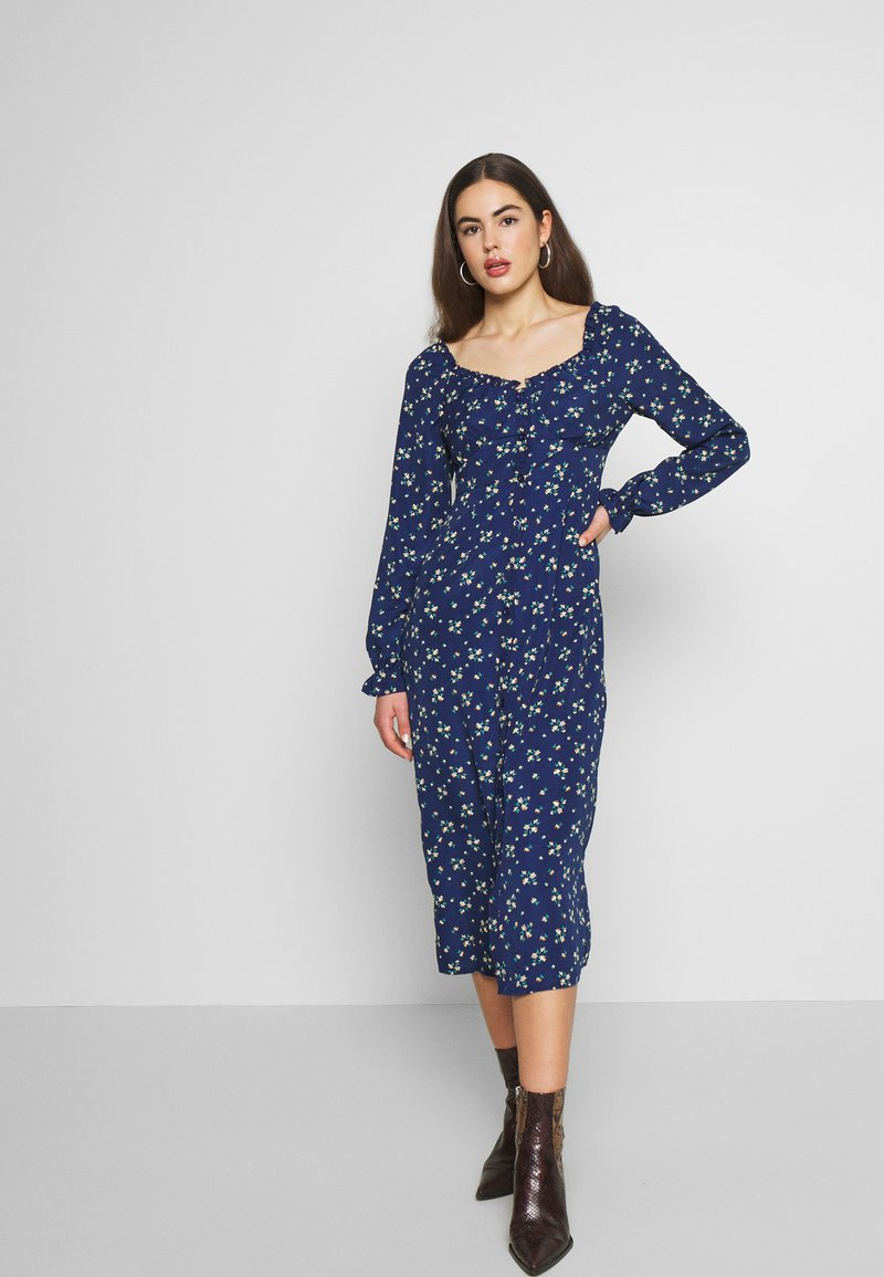 Missguided - BUTTON MILKMAID MIDI DRESS FLORAL - Kjole - navy