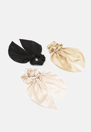 SAMARA SCRUNCHIES 3 PACK - Hair Styling Accessory - black/off white/gold
