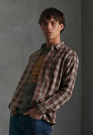 SUPERDRY WORKWEAR LITE LONG SLEEVE SHIRT - Shirt - denim tobacco check