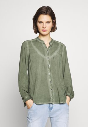 BLUSE - LANGARM - Button-down blouse - olive