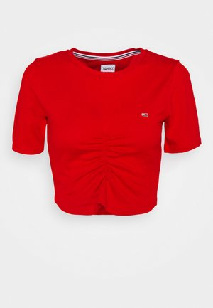 CROP RUCHE - T-shirt imprimé - deep crimson