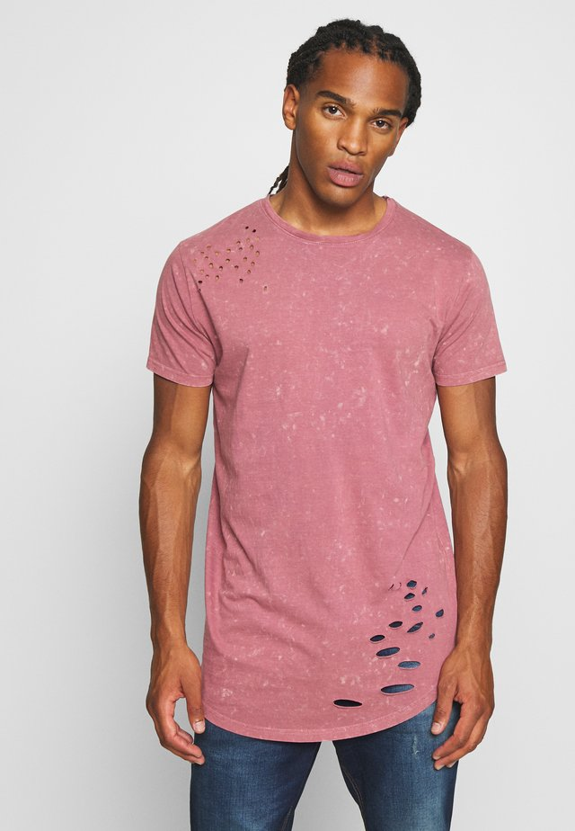 GENKO - T-Shirt print - pink acid wash