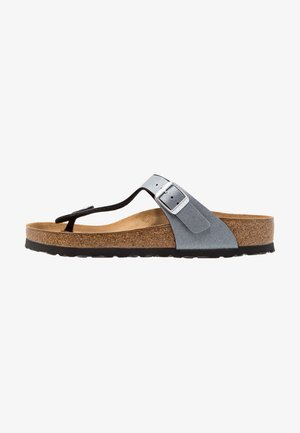 GIZEH - T-bar sandals - icy metallic anthracite