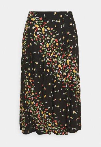 SKIRT WITH SIDE SPLIT - A-line skirt - black fruit print