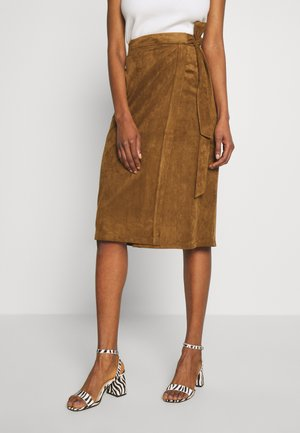 ESUEDE - Pencil skirt - noisette