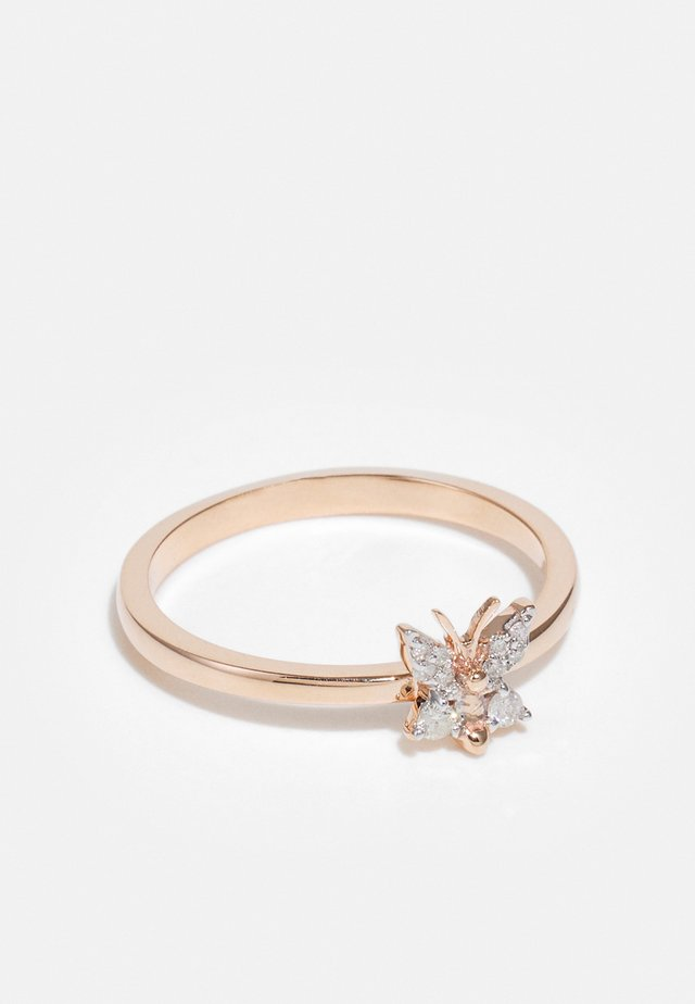 NATURAL DIAMOND RING CERTIFIED 0.07CARAT BUTTERFLY DIAMOND RINGS 9KT ROSE GOLD DIAMOND JEWELLERY GIFTS FOR WOMENS - Ring - rosegold