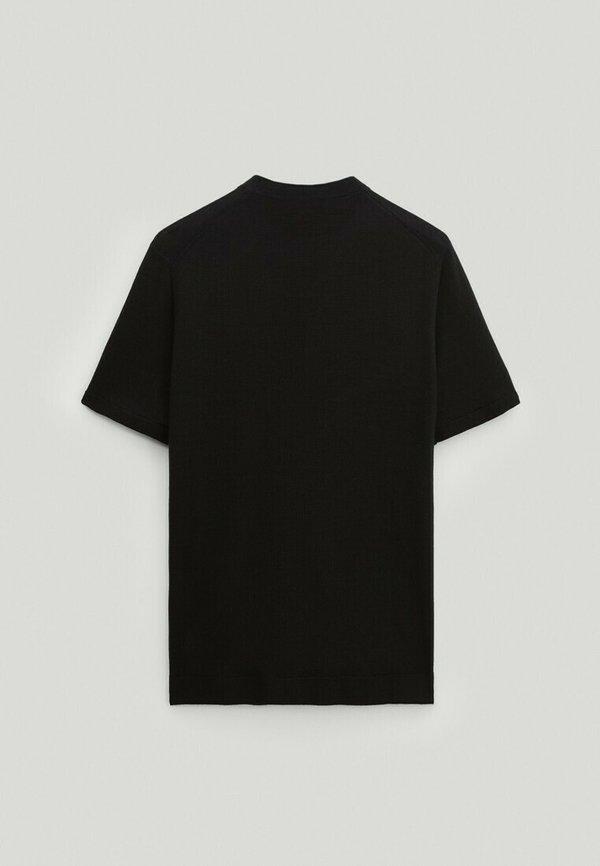 Massimo Dutti T-shirt basic - black/czarny Odzież Męska XFXJ