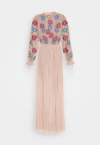 EMBROIDERED FLORAL MAXI DRESS WITH BISHOP SLEEVES