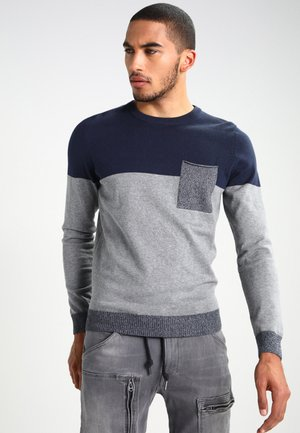 Strikkegenser - mottled grey/dark blue