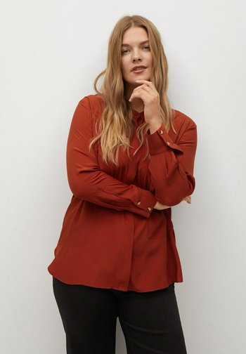 DOBLE - Button-down blouse - granatrot