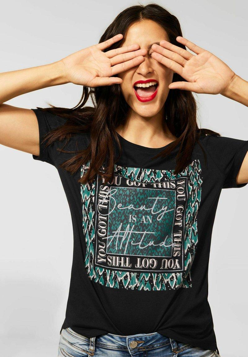Street One - MIT PARTPRINT - Print T-shirt - schwarz
