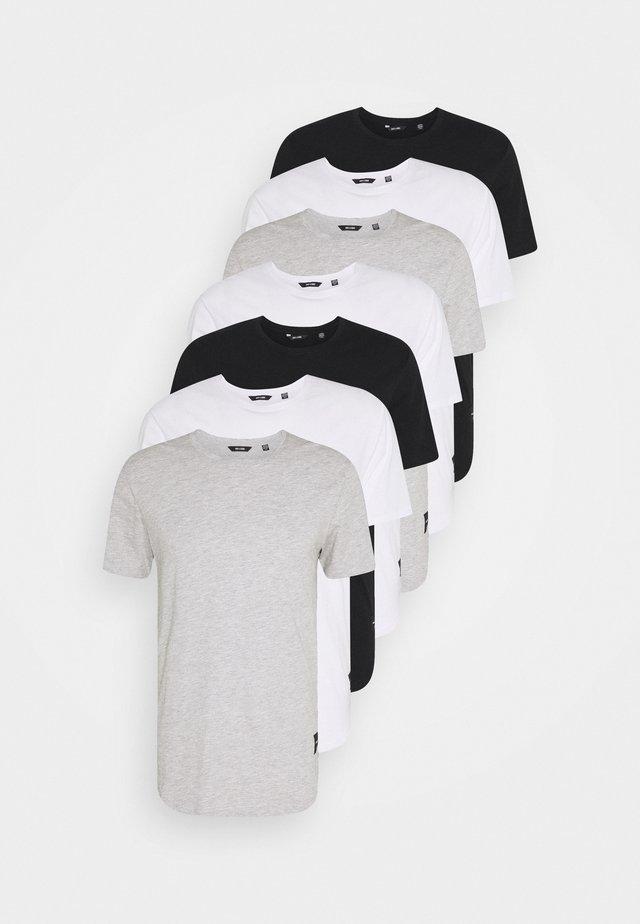 MATT 7 PACK - T-paita - white/black/light grey melange