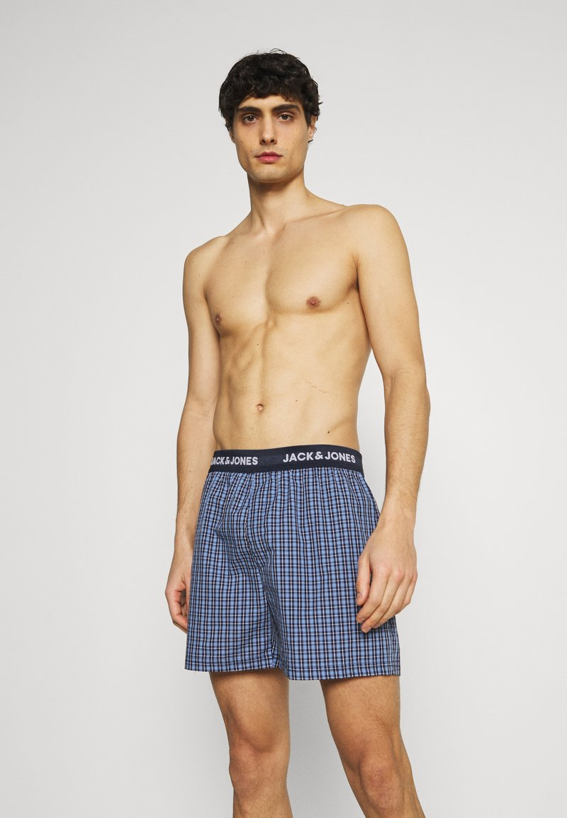 Jack & Jones - JACBLUEISH CHECK TRUNKS 2 PACK - Boxer shorts - dress blues/dress blue