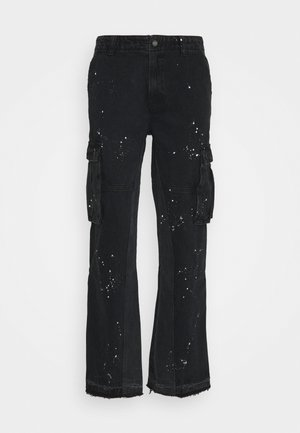 PAINT SPLATTER BLACK PANELLED CARGOS - Cargo trousers - black