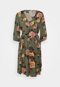 Object Petite - OBJROSE WRAP DRESS - Kjole - deep lichen green/flower - 0