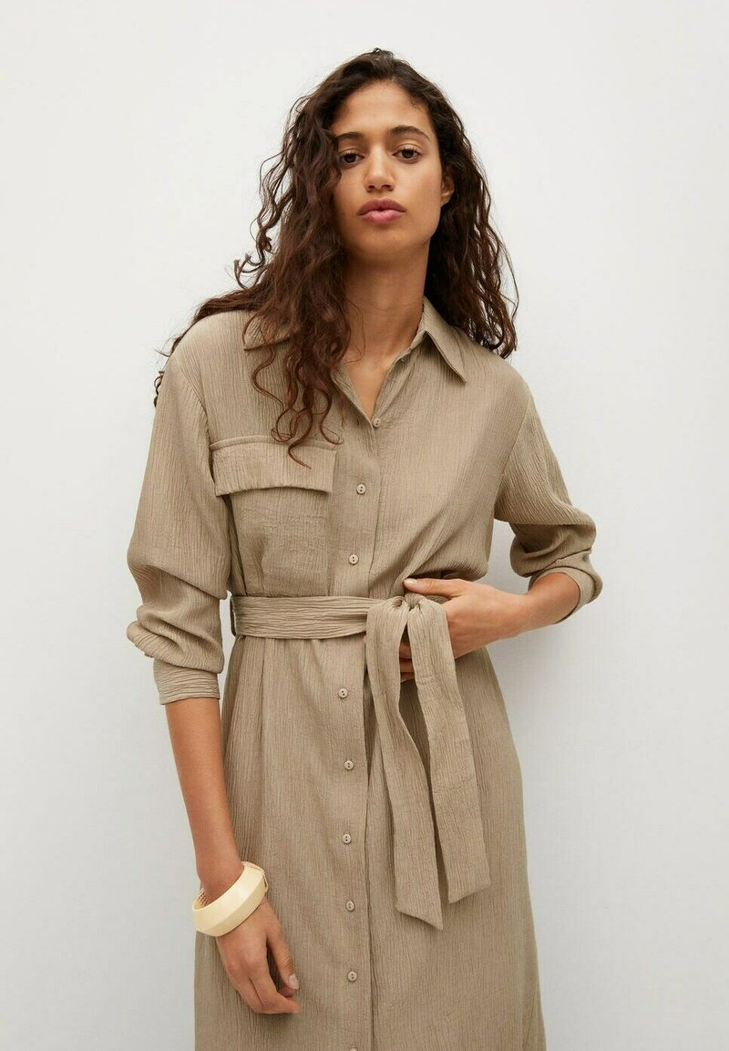 Mango - MIT TEXTUR - Shirt dress - beige
