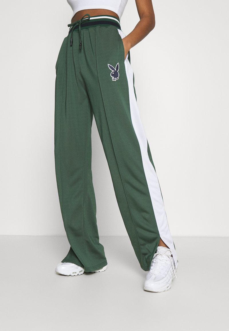 Missguided - PLAYBOY VARSITY WIDE LEG TRICOT PANTS - Tracksuit bottoms - green