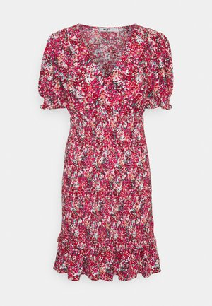 V-NECK SMOCKED MINI DRESS - Robe d'été - red