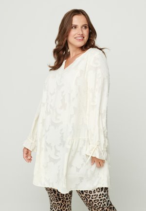WITH V-NECK - Tunic - beige