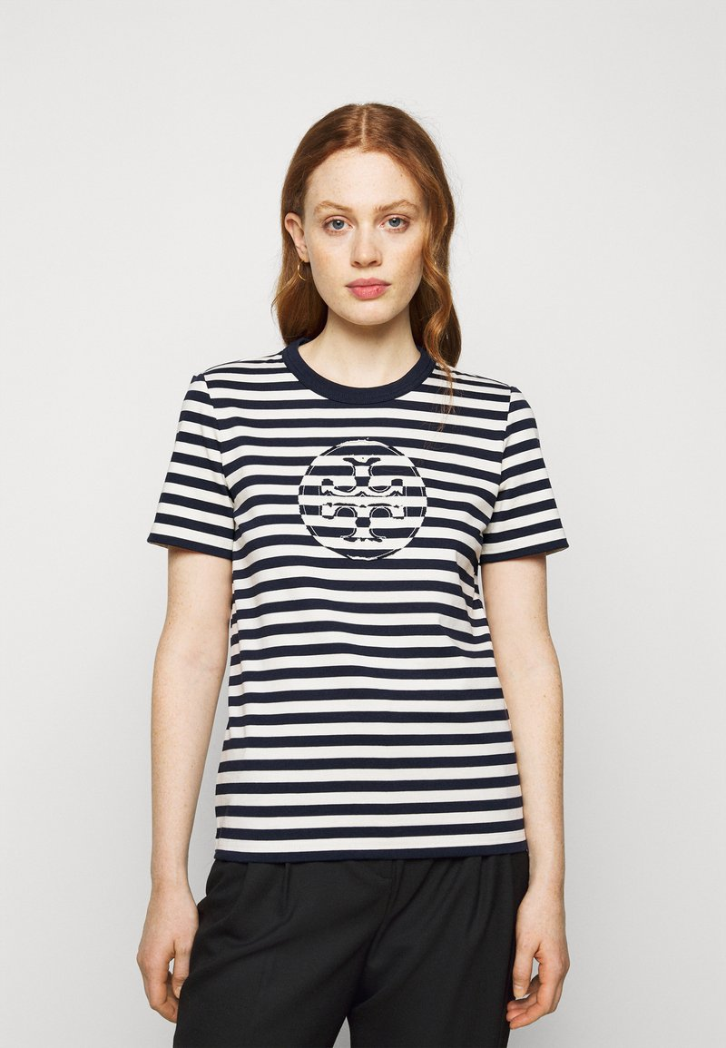 Tory Burch - STRIPED LOGO  - Camiseta estampada - navy